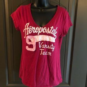 Aeropostale Varsity Team 9 V-Neck T-shirt
